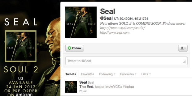 Seal twittert The End